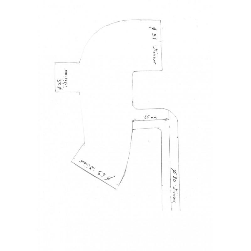 57 63mm avec t 25mm et t 20mm coude s silicone redox sur mesure. Black Bedroom Furniture Sets. Home Design Ideas