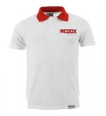 Polo REDOX blanc encolure rouge 100% coton 165gr