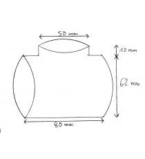Manchon T de dérivation Diamètre 62 + T 50mm Longueur 80x10mm silicone résistant essence, ethanol, diesel, huile