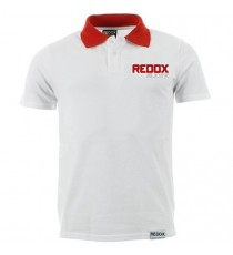 Polo REDOX blanc encolure rouge 100% coton 165gr