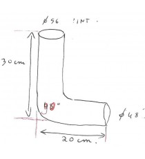 48-56mm - Réducteur 90° Longueur 200x300mm Epaisseur 5mm  silicone - REDOX