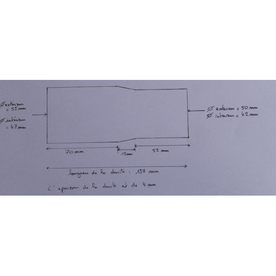 42-47mm - Réducteur droit silicone 137mm - REDOX
