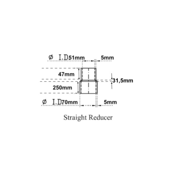 51-70mm - Longueur 330mm Réducteur droit silicone noir résistant hydrocarbure  - REDOX