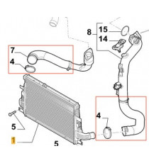 Kit 2 durites suralimentation air turbo diesel silicone pour ALFA ROMEO 159 SW 2.0 JTDM 170cv 2009-2011