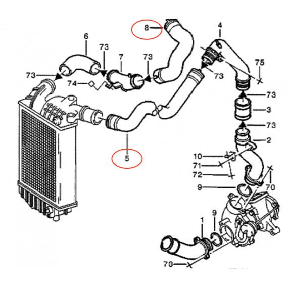 Kit 2 durites suralimentation air silicone pour PEUGEOT Boxer 2.5 TDI 107CV 1997-2002